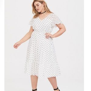 Torrid White Polka Dot Chiffon Midi Dress Flowy 2X